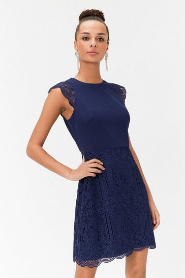 Navy A-Line Lace Skirt Mini Dress