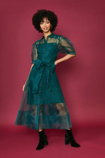 Forest Organza Puff Sleeve Dress