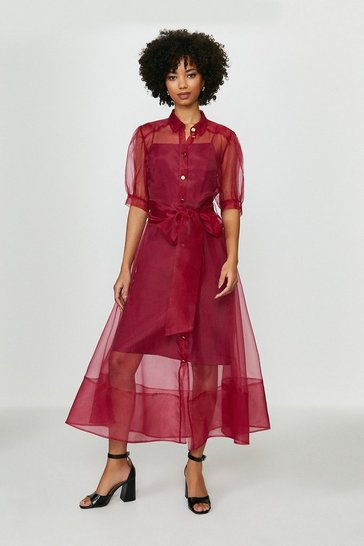 Merlot Organza Puff Sleeve Dress