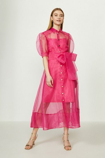 Pink Organza Puff Sleeve Dress