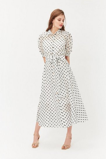Blackwhite Polkadot Organza Sleeve Midi Dress