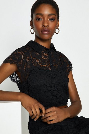Black Belted Lace Shirt Dress
