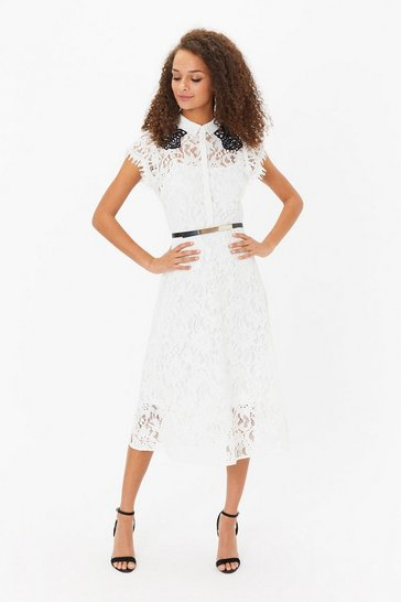 Blackwhite Belted Lace Shirt Dress
