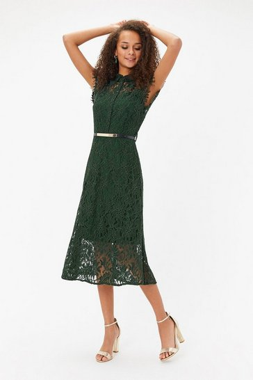 Forest Belted Lace Shirt Dress