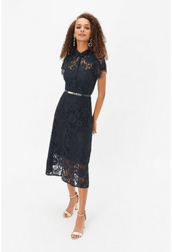 Navy Belted Lace Shirt Dress