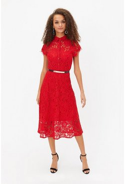 Red Belted Lace Shirt Dress