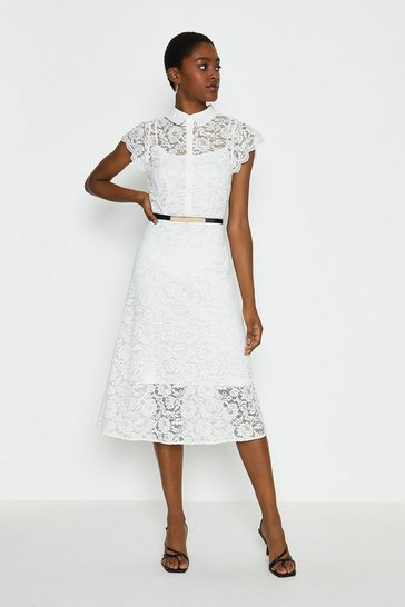 White Belted Lace Shirt Dress