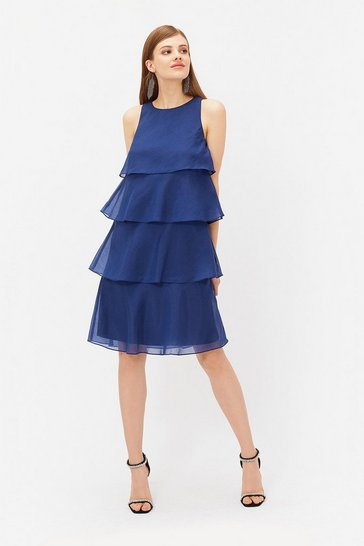Womens Navy Tiered Organza Short Dress