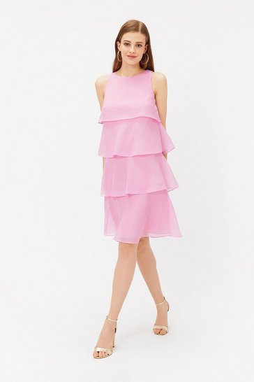 Pink Tiered Organza Short Dress