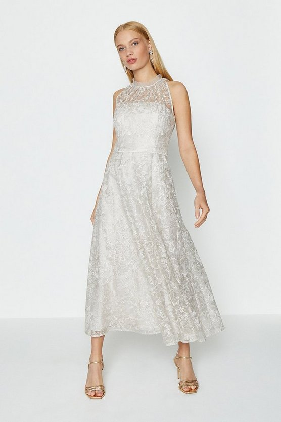 Silver Embroidered High Neck Mesh Midi Dress