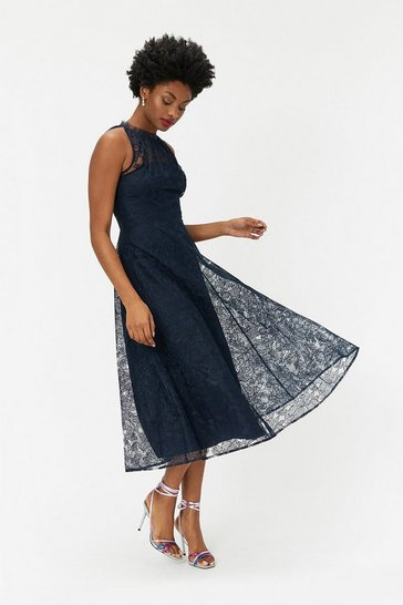 Navy Embroidered High Neck Mesh Dress