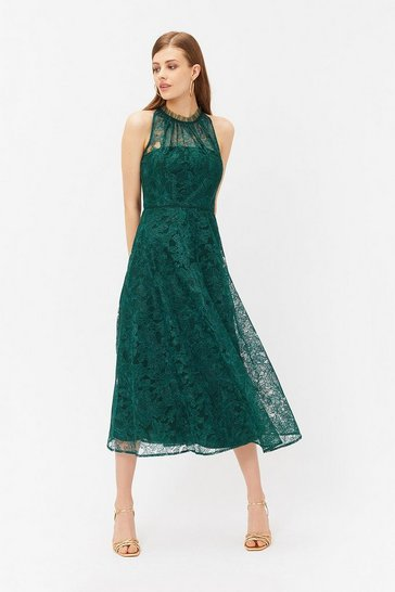 Womens Forest Embroidered High Neck Mesh Dress