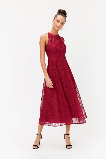 Womens Berry Embroidered High Neck Mesh Midi Dress