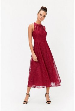 Berry Embroidered High Neck Mesh Midi Dress