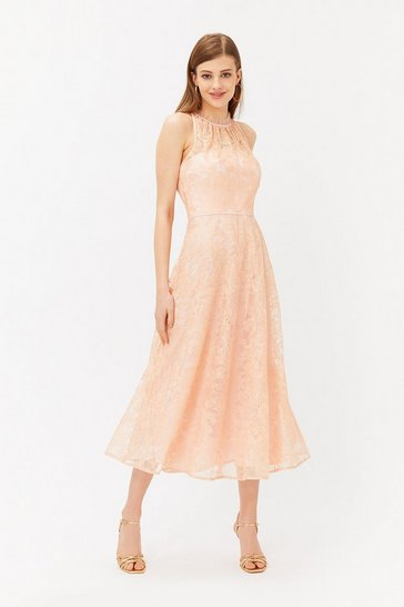 Blush Embroidered High Neck Mesh Midi Dress