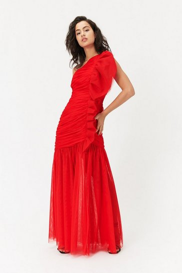 Red One Shoulder Ruched Midi Dress