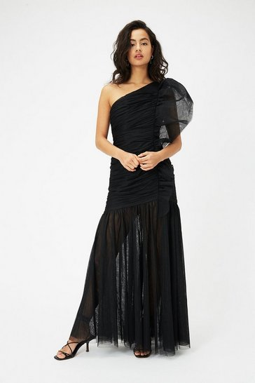 Black One Shoulder Ruched Midi Dress