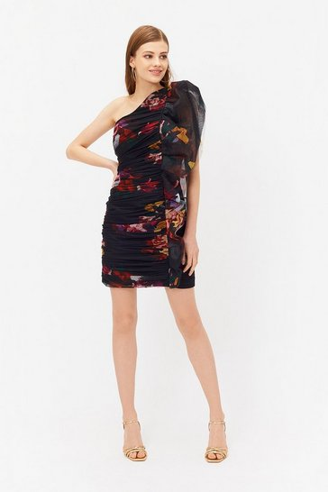 Multi Printed One Shoulder Ruched Mini Dress