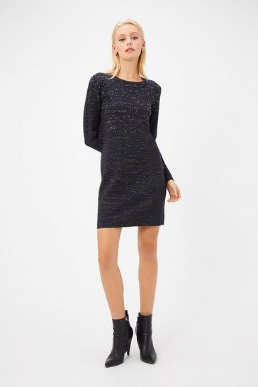 Womens Navy Zebra Jacquard Knitted Dress