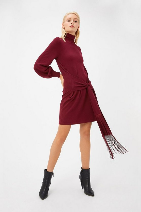 Womens Merlot Tassel Belted Tunic Dress