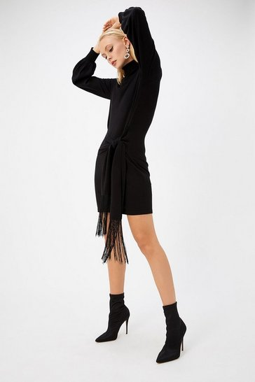 Womens Black Tassel Belted Tunic Dress