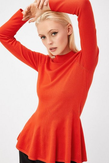Womens Red Button Shoulder Knit Top