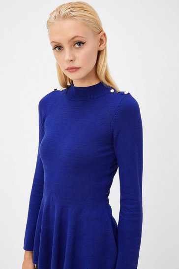 Womens Cobalt Blue Button Shoulder Knit Top