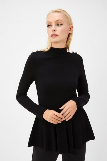 Womens Black Button Shoulder Knit Top