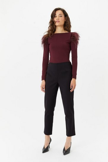 Womens Black Slim-Leg Trouser
