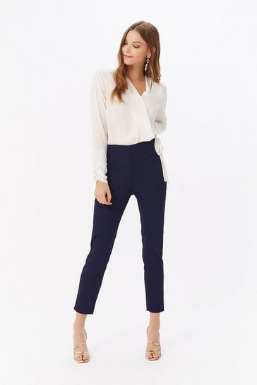 Womens Navy Slim-Leg Trouser