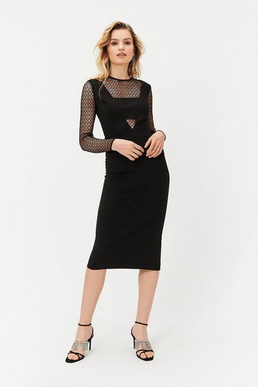 Black Lace Underlay Dress