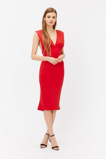 Red V Back Shift Dress