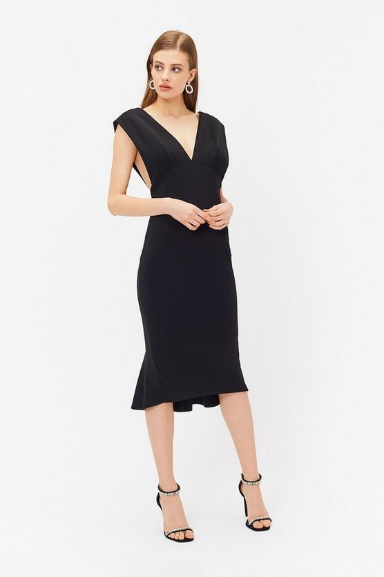 Womens Black V Back Shift Dress