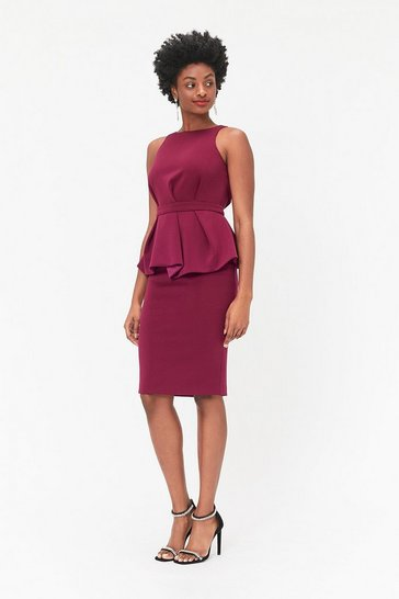 Plum Peplum Waist Shift Dress