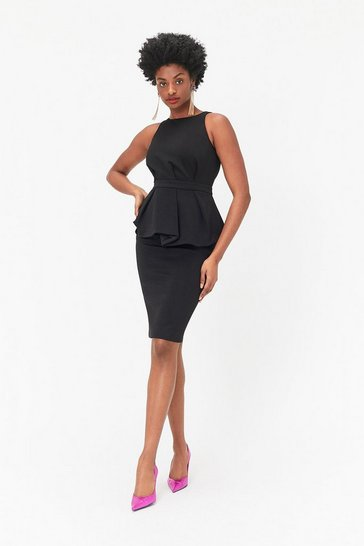 Black Peplum Waist Shift Dress