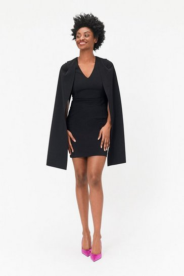 Black Cape Sleeve Mini Dress