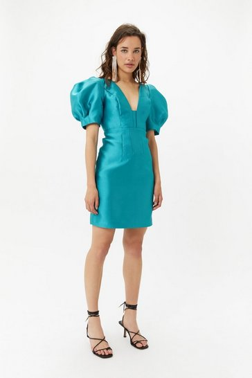 Teal Puff Sleeve Mini Dress