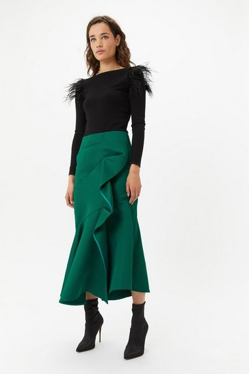 Green Satin Ruffle Front Midi Skirt