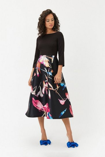 Womens Black Abstract Full Midi Dress
