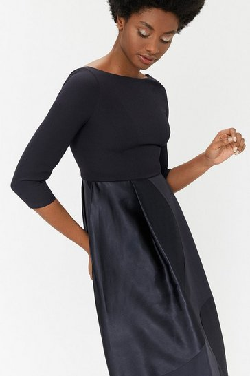 Black Curve Burnout Full Midi Dress