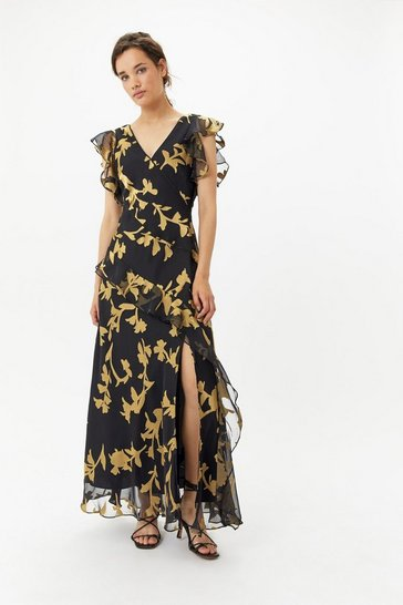 Womens Black Floral Ruffle Maxi Dress