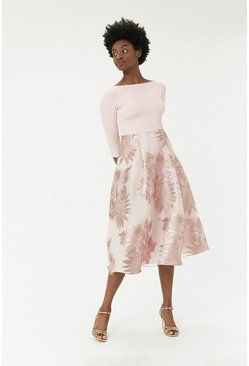 Blush Metallic Clip Full Midi Dress