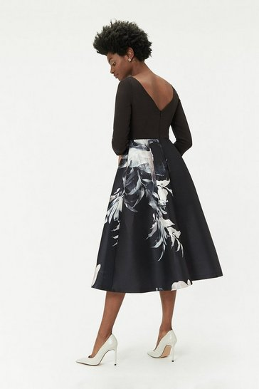 Black Curve Mono Floral Print Full Midi Dress