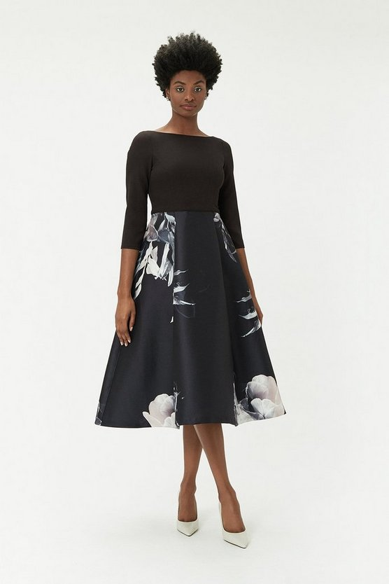 Womens Black Floral Full Midi Dress