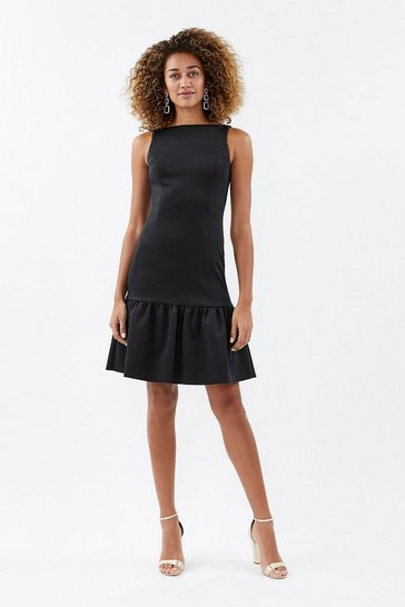 Black Scuba Dirndl Hem Dress