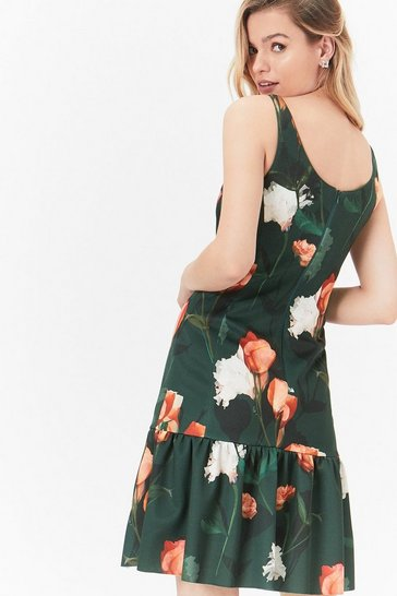 Forest Printed Scuba Ruffle Hem Dress