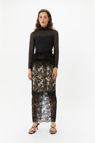 Womens Black  Feather Lace Maxi Skirt