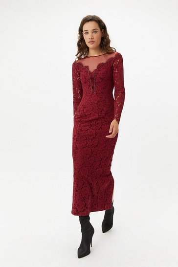 Womens Merlot Lace Maxi Dress