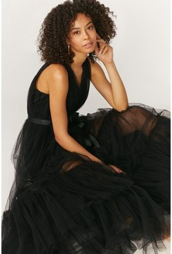 Black Tulle Maxi Dress