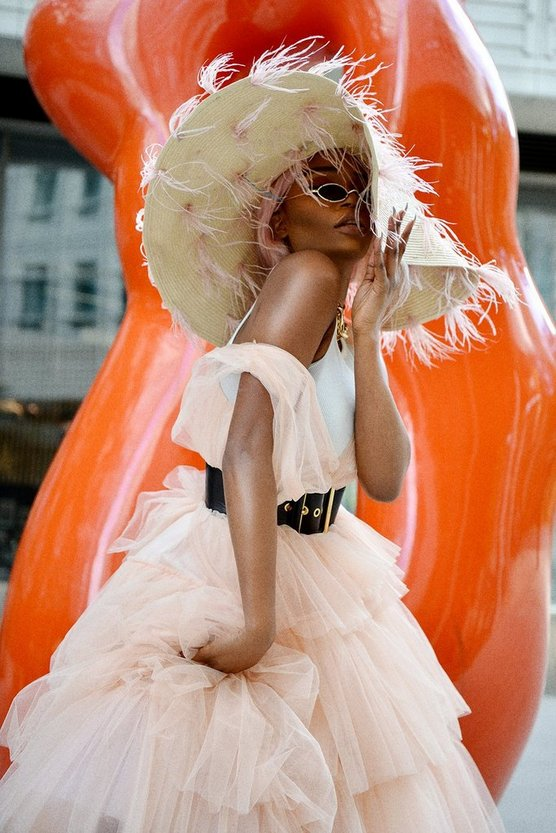 Womens Peach Tulle Maxi Dress